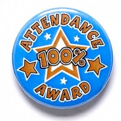 100% Attendance Button Badge