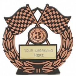 Mega Chequered Flag Bronze Plaque