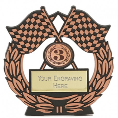 Mega Chequered Flag Bronze Plaque