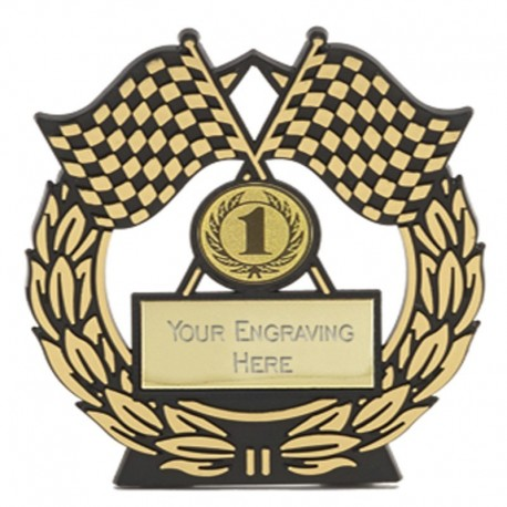 Mega Chequered Flag Gold Plaque