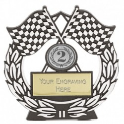 Mega Chequered Flag SIlver Plaque
